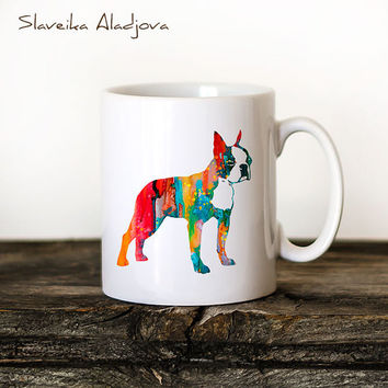Boston Terrier 2 Mug Watercolor Ceramic Mug Unique Gift Bird Coffee Mug Animal Mug Tea Cup Art Illustration Cool Kitchen Art Printed dog