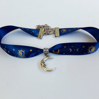 Pretty satin ribbon celestial moon choker with adjustable lobster claw and man in the moon charm