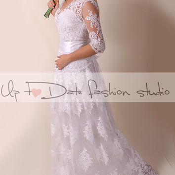 Lace  Wedding dress/ Vneck front / Recepion/ long /mаxi/  dress/ Bridal Gown 3/4 sleeve