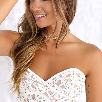 StyeStalker Resort Bodice -  nude and white lace strapless crop top