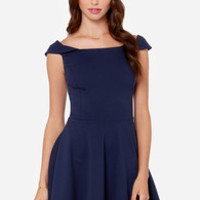 Refined Dining Navy Blue Dress