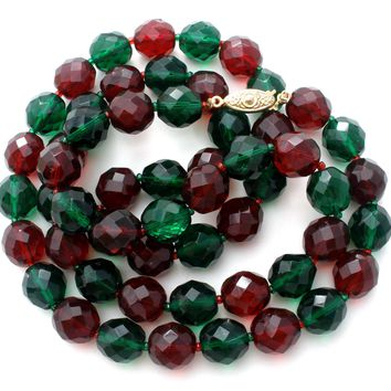 "Red & Green Glass Bead Necklace 30"" Vintage"