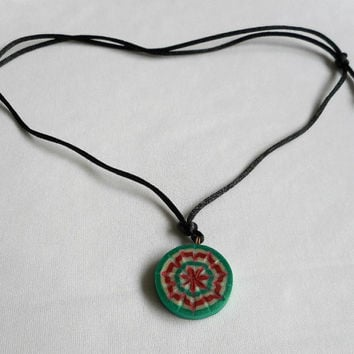 Red White and Green Polymer Clay Pendant on Adjustable Satin Cord, Comfortable Unisex Necklace