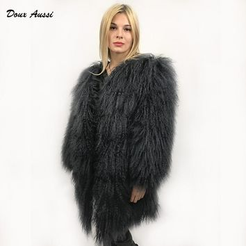 DOUX AUSSI Black Mongolian Lamb Coat 2017 Autumn & Winter Thick Warm Dark Solid Full Pelt Mongolian Sheep Fur Jacket Women
