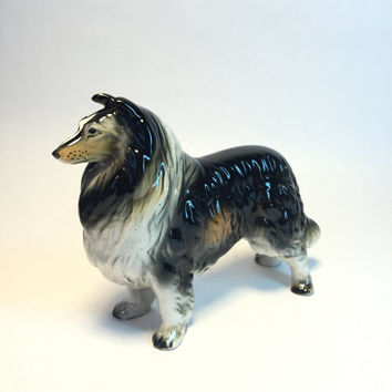 Rough Collie Figurine Mid Century Vintage Norcrest Made in Japan Lassie Collectible Black and Brown