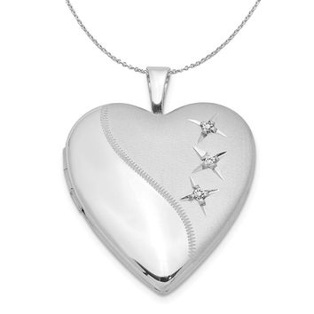 20mm Polished and Satin Triple Diamond Heart Silver Locket Necklace