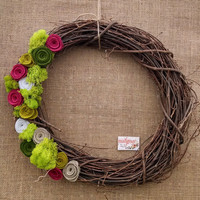 large 16inch green pink rose grapevine wreath, green moss grapevine wreath, pink green rose wreath, ready to ship