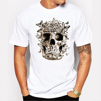 Men summer Hip hop skeleton butterfly personality print wind T-shirt