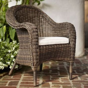 Torrey All-Weather Wicker Dining Armchair | Pottery Barn