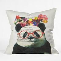 Coco de Paris Flower Panda Throw Pillow