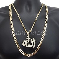 "ICED OUT ALLAH CHARM ROPE CHAIN DIAMOND CUT 30"" CUBAN CHAIN NECKLACE SET G48"