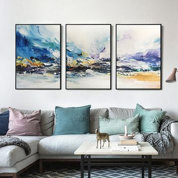 Modern Abstract acrylic Navy purple and Blue  painting on canvas extra Large painting 3 pieces Wall Pictures Home Decor Cuadros abstractos