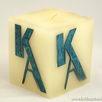 Monogrammed Gift • Made to Order • Personalized Monogram Candle • Custom Name handmade wooden marquetry