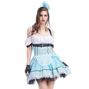 Sexy Blue French Maid Costume Adult Womens Alice in Wonderland Costume Halloween Fancy Party Dress