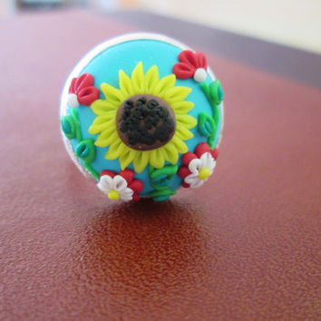 sunflower ring,polymer clay ring,colorful floral ring,spring ring,sunflower cameo ring,sunflower retro ring,vintage cameo ring,artisan ring