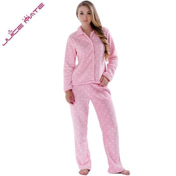 Women Soft Fleece 2 Piece Printed Pajama Set