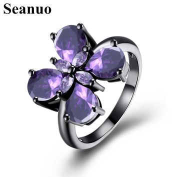 Seanuo 2017 Unique Butterfly Black Gold Filled Ring Jewelry Vintage Wedding Rings For Women Birthday Stone Gifts girl party ring