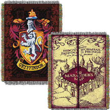 Harry Potter Marauders Map with Gryffindor Shield Woven Tapestry Throw (48inx60in)