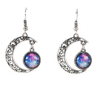 Silver Moon Galaxy Drop Earrings