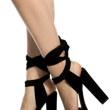 Black Faux Suede Wrap Around Chunky Platform Heels @ Cicihot Heel Shoes online store sales:Stiletto Heel Shoes,High Heel Pumps,Womens High Heel Shoes,Prom Shoes,Summer Shoes,Spring Shoes,Spool Heel,Womens Dress Shoes