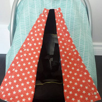 Infant car seat cover, Infant car seat canopy, Baby car seat canopy, Baby car seat cover, Carrier Cover, Infant Carrier, blue, coral, stars