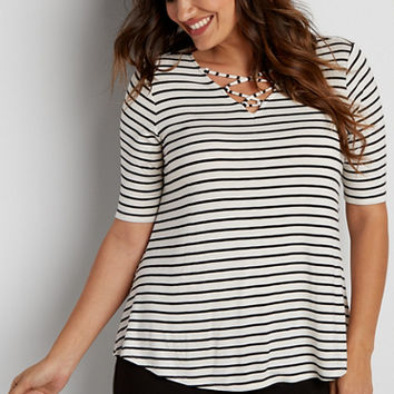 the 24/7 plus size striped swing tee with strappy v-neckline | maurices