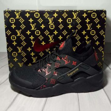 Nike x Supreme x Louis Vuitton Black/Red Air Huarache Fashion Luminous Shoes Sneakers