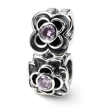 Sterling Silver and Pink Cubic Zirconia Connector Bead Charm