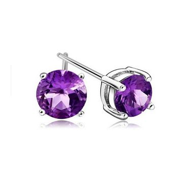 925 Silver Purple Crystal Stud Earrings +Gift Box