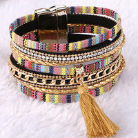 Magnetic Leather bracelets & bangles Bohemian Boho Multilayer Bracelets Jewelry for Women Men Gift