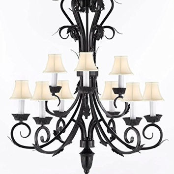 "Wrought Iron Chandelier Lighting Chandeliers With White Shades H 30"" W 26"" 9 lights - A84-WHITESHADES/724/6+3"