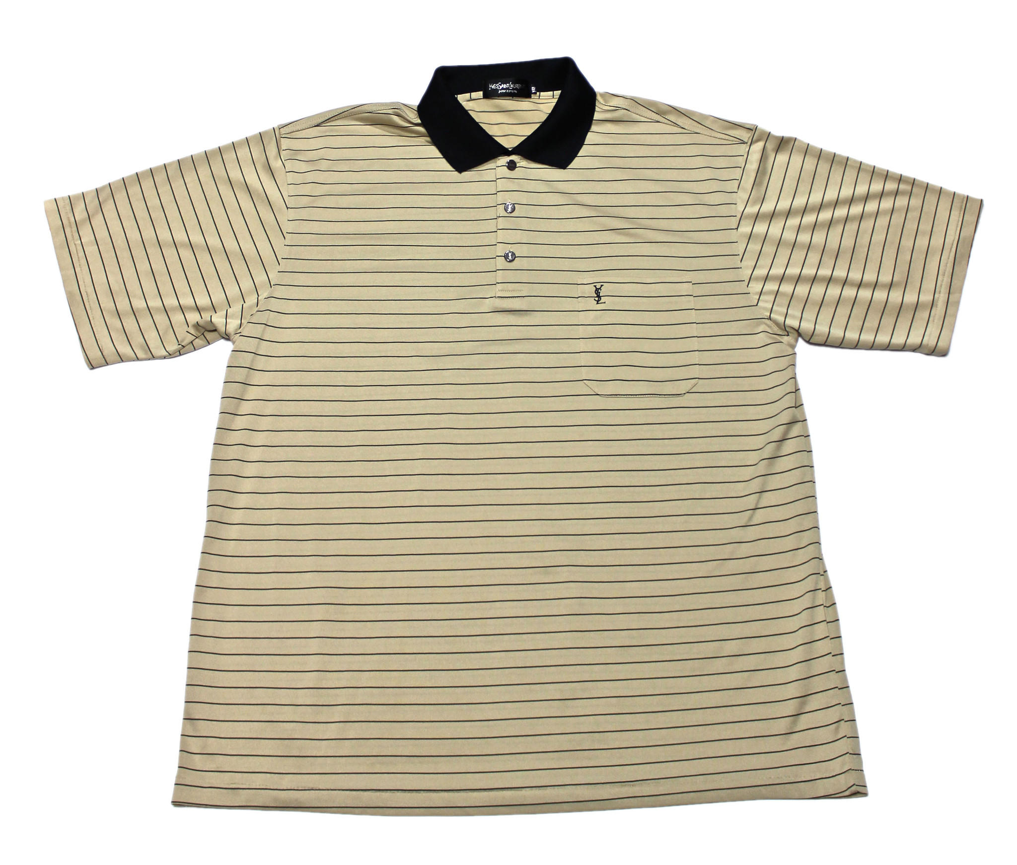 17b04498 Vintage Yves Saint Laurent YSL Silk Striped Polo Shirt Mens Size Large