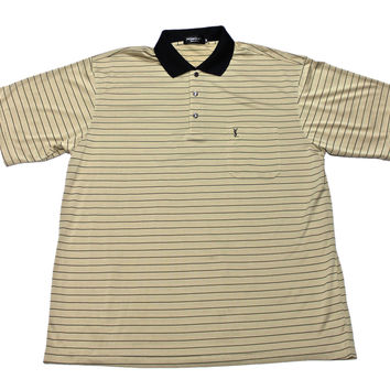Vintage Yves Saint Laurent YSL Silk Striped Polo Shirt Mens Size Large