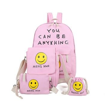 Smiley face school bags for teenage girls canvas cute backpacks rucksack back pack mochilas escolar feminina sac 4pcs/set