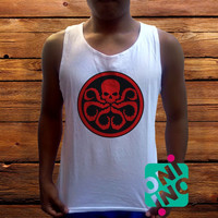 Hydra Logo Men's White Cotton Solid Tank Top