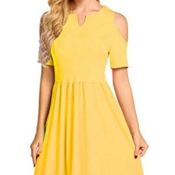 Womens Casual Summer V Neck Short Sleeve Dresses Cold Shoulder Pleated Aline Skater Dress