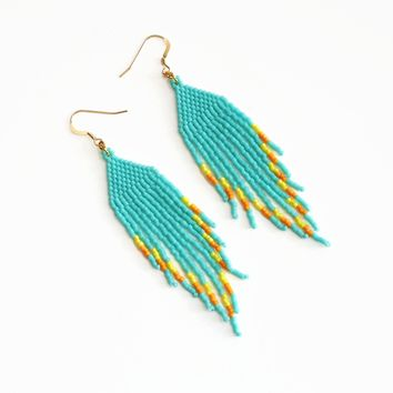Retro Spring Beaded Fringe Earrings In Blue, Yellow, And Orange With Golf Filled Ear Wires
