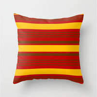 """Red,Yellow,Brown,Stripes Throw Pillow Indoor & Outdoor Cover (16"""" X 16"""", 18"""" X 18"""", 20"""" X 20""""),Home Decor,Nautical,Pattern,Colorful,Beach"""