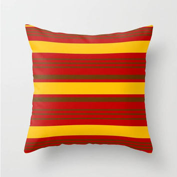 "Red,Yellow,Brown,Stripes Throw Pillow Indoor & Outdoor Cover (16"" X 16"", 18"" X 18"", 20"" X 20""),Home Decor,Nautical,Pattern,Colorful,Beach"
