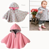 Fuloon Newborn Baby Toddler Girl Fleece Hoodie Cape Coat For Winter (pink)