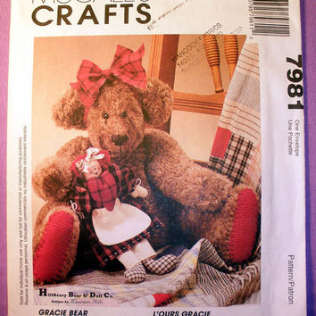 Stuffed Teddy Bear and her Rag Doll Anne, Gracie Bear and Her Doll Craft McCall's 7981 Sewing Pattern Uncut