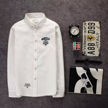 Tide card simple embroidery ape head cotton long-sleeved shirt tide male White