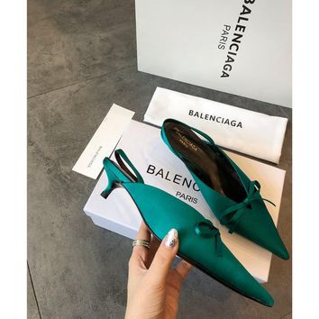 Balenciaga Knife Mules Green Pointed Toe Satin Mule With Kitten Heel