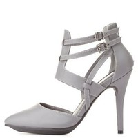 Gray Strappy Pointed Toe D'Orsay Heels by Charlotte Russe