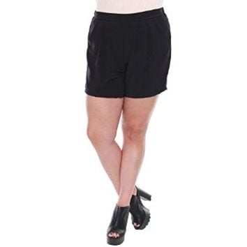 Plus Size Black Pleated Shorts W/ Pockets LP5456
