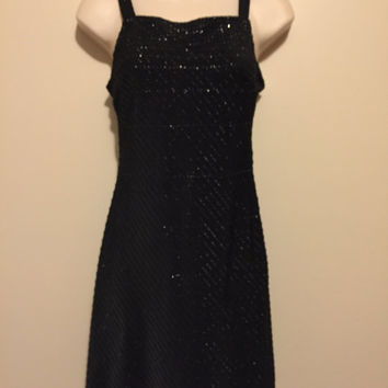 Vintage 1990's sheer, sparkly, black party/club slip dress. size small