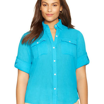 Lauren Ralph Lauren Plus Crinkled Cotton Gauze Shirt