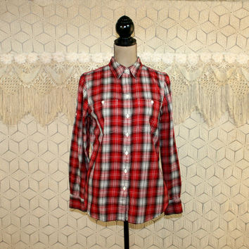 Womens Red Plaid Shirt Long Sleeve Blouse Cotton Tops Small Medium Ralph Lauren Button Up Plaid Blouse Casual Womens Vintage Clothing