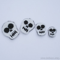 Skull Appliques, Crochet Set of Four, ready to ship.