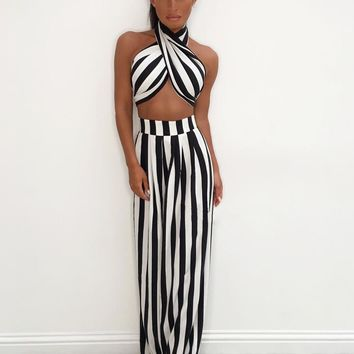 Table For Two Black White Stripe Pattern Strapless Bow Crop Top High Waist Loose Wide Leg Pants Two Piece Jumpsuit